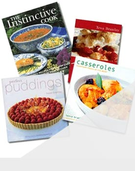 Books - The Instinctive Cook, Perfect Puddings, Traditional Puddings and Casseroles, some of Tessas Publications